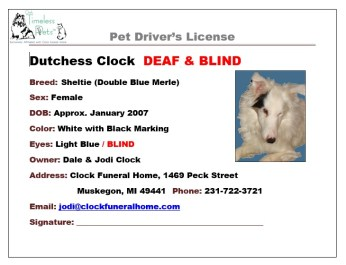 Sample of front side of a pet drivers license