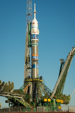 The Soyuz TMA-11M rocket, adorned with the logo of the Sochi Olympic Organizing Committee and other related artwork, is seen after being erected into position at the launch pad on Tuesday, Nov. 5, 2013, at the Baikonur Cosmodrome in Kazakhstan. Launch of the Soyuz rocket is scheduled for November 7 and will send Expedition 38 Soyuz Commander Mikhail Tyurin of Roscosmos, Flight Engineer Rick Mastracchio of NASA and Flight Engineer Koichi Wakata of the Japan Aerospace Exploration Agency on a six-month mission aboard the International Space Station. Photo Credit: (NASA/Bill Ingalls)