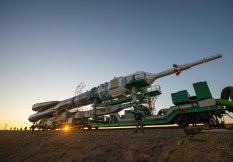 The Soyuz TMA-11M rocket, adorned with the logo of the Sochi Olympic Organizing Committee and other related artwork, is rolled out to the launch pad by train on Tuesday, Nov. 5, 2013, at the Baikonur Cosmodrome in Kazakhstan. Launch of the Soyuz rocket is scheduled for November 7 and will send Expedition 38 Soyuz Commander Mikhail Tyurin of Roscosmos, Flight Engineer Rick Mastracchio of NASA and Flight Engineer Koichi Wakata of the Japan Aerospace Exploration Agency on a six-month mission aboard the International Space Station. Photo Credit: (NASA/Bill Ingalls)