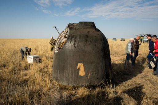 The Soyuz TMA-08M spacecraft is seen after it landed with Expedition 36 Commander Pavel Vinogradov of the Russian Federal Space Agency (Roscosmos), Flight Engineer Alexander Misurkin of Roscosmos and Flight Engineer Chris Cassidy of NASA aboard, in a remote area near the town of Zhezkazgan, Kazakhstan, on Wednesday, Sept. 11, 2013. Vinogradov, Misurkin and Cassidy returned to Earth after five and a half months on the International Space Station. Photo Credit: (NASA/Bill Ingalls)