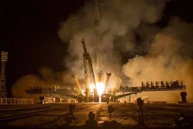 The Soyuz TMA-10M rocket launches from the Baikonur Cosmodrome in Kazakhstan on Thursday, Sept. 26, 2013 carrying Expedition 37 Soyuz Commander Oleg Kotov, NASA Flight Engineer Michael Hopkins and Russian Flight Engineer Sergey Ryazanskiy to the International Space Station. Their Soyuz rocket launched at 2:58 a.m. local time. Photo Credit: (NASA/Carla Cioffi)