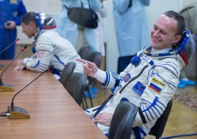 Expedition 37/38 Sergey Ryazanskiy is seen smiling after having his Russian Sokol suit pressure checked ahead of his launch onboard a Soyuz TMA-10M spacecraft to the International Space Station, on Wednesday, Sept. 25, 2013, in Baikonur, Kazakhstan. Launch of the Soyuz rocket will send the Expedition 37/38 crewmates on a five-month mission aboard the International Space Station. Photo Credit: (NASA/Carla Cioffi)