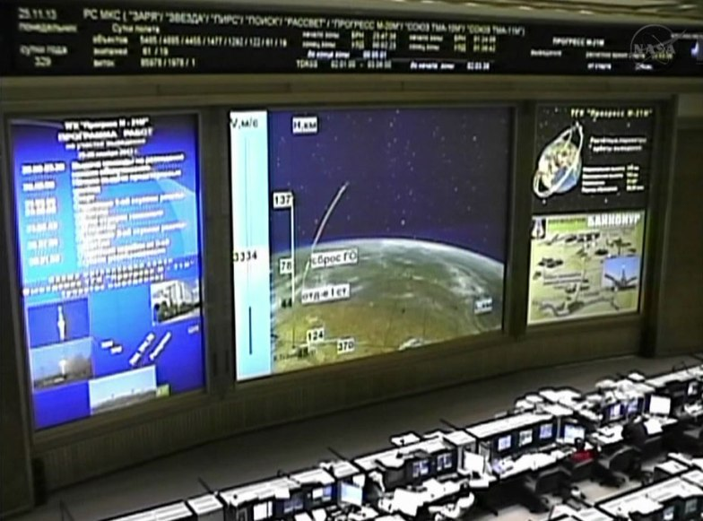 The Russian Mission Control Center monitors the ISS Progress 53 cargo ship as it heads to its preliminary orbit. Image Credit: NASA TV