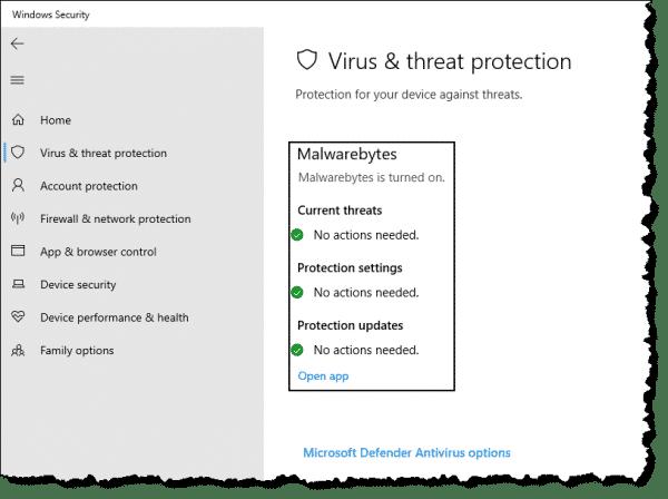 Malwarebytes in Windows Security
