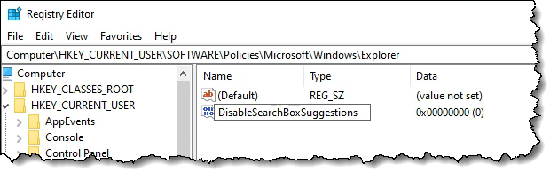 Adding the DisableSearchBoxSuggestions value