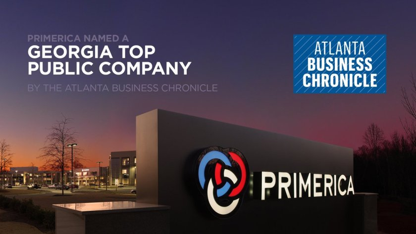 Photo of primerica sign and the Atlanta Business Chronicle logo
