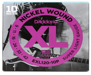 D'Addario EXL120-10P Nickel Wound Electric Guitar Strings, Super Light, 9-42, 10 Sets Review