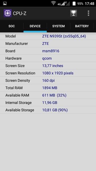 ZTE V5 Pro - CPU-Z 2