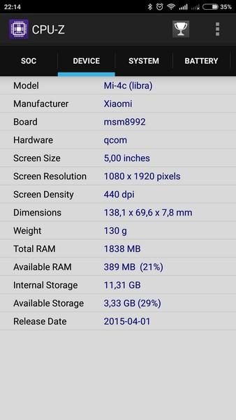 Xiaomi Mi4c - CPU-Z 2