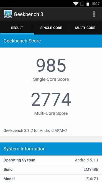 Lenovo ZUK Z1 - Geekbench