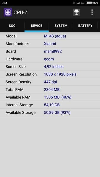 Xiaomi Mi4s - CPU-Z 2