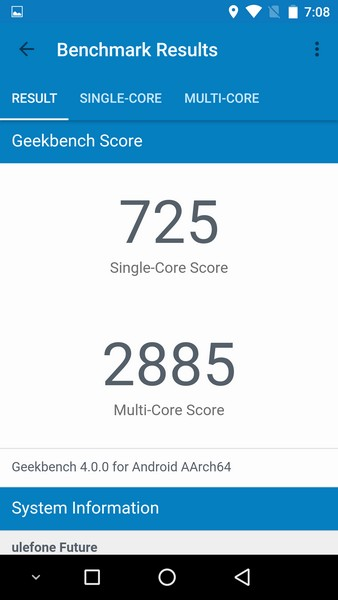 Ulefone Future Review - Geekbench 4