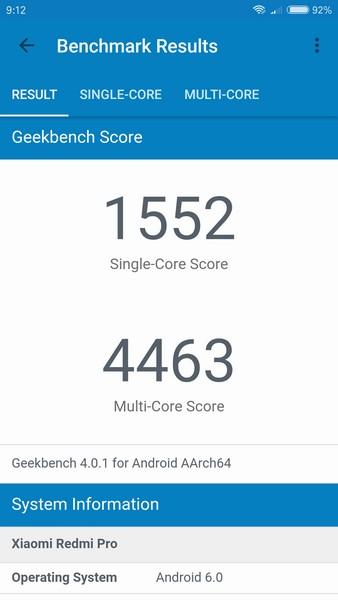 Xiaomi Redmi Pro Review - Geekbench 4