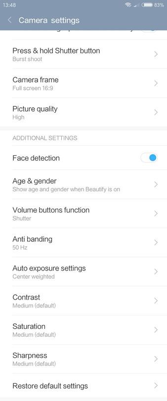 Xiaomi Redmi Pro Review - Camera settings