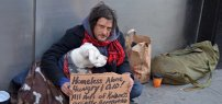 Homeless Man in NYC with Dog