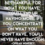 Tuesday Thoughts: Be Thankful for What You Have