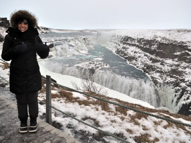 Melanie at Gulfoss, Iceland