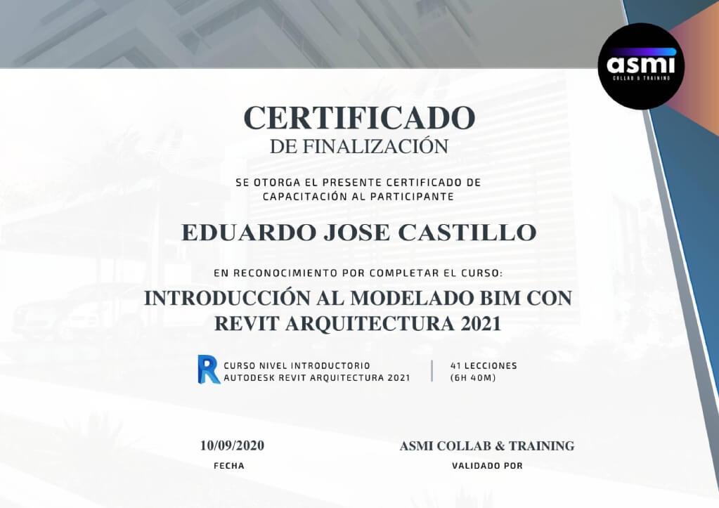 Certificado de finalización del curso de Revit Arquitectura 2021