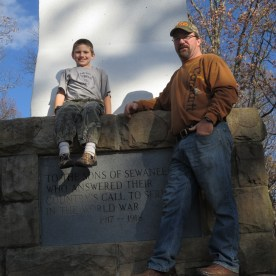 My husband and our son at the Cross