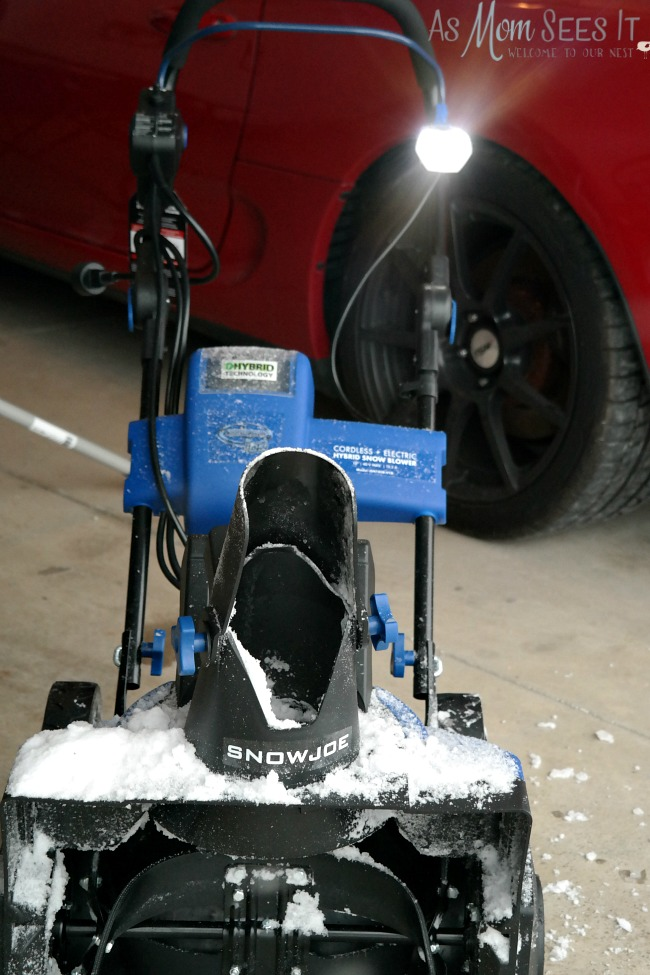 Snow Joe cordless snow blower features LED lighting for dark winter days