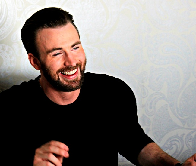 Chris Evans plays hunky Captain America in the Marvel Cinematic Universe