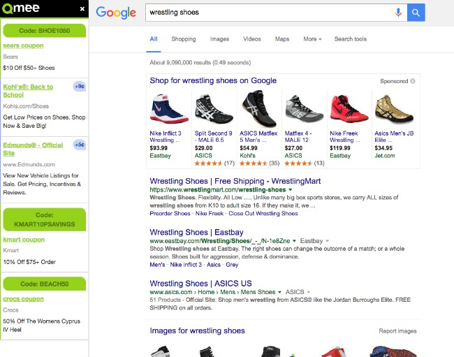 I can save even when I search for items on Google with Qmee