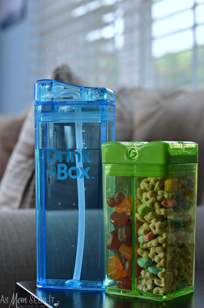 Drink in a box and snack in a box are great for kids on the go and reusable