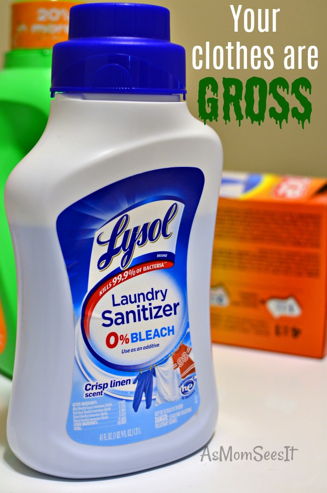 Lysol Laundry Sanitizer has ZERO bleach and kills 99.9% of bacteria in your clothing