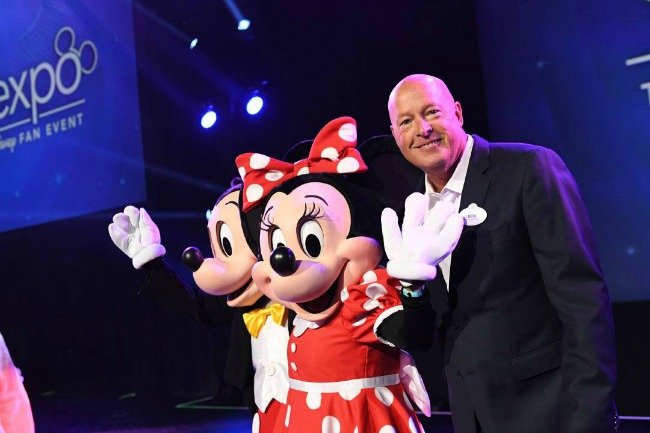 Chapek announcing exciting Disney news for their parks, resorts, and cruise lines