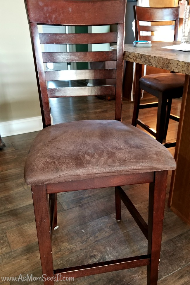 Ugly brown bar stools we reupholstered ourselves