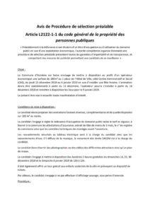 thumbnail of Avis de Procédure de sélection préalable no1 du 5 octobre 2018