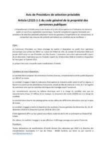 Avis de Procédure de sélection préalable n°2 du 5 octobre 2018