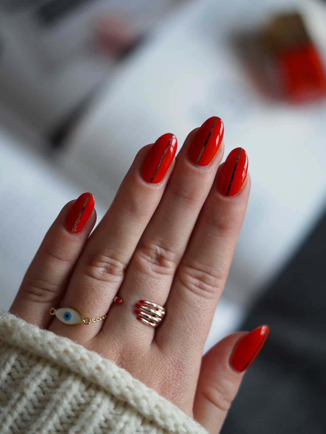 Red Coffin Nails Design