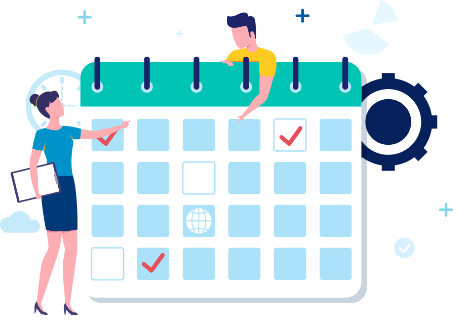 Two people on a calendar