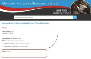 How to search agency name availability on the secretary of state's website