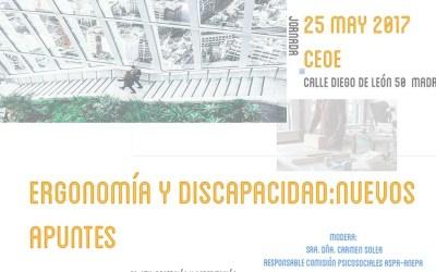 Jornada Ergonomía y Discapacidad: Nuevos Apuntes 25 mayo 2017
