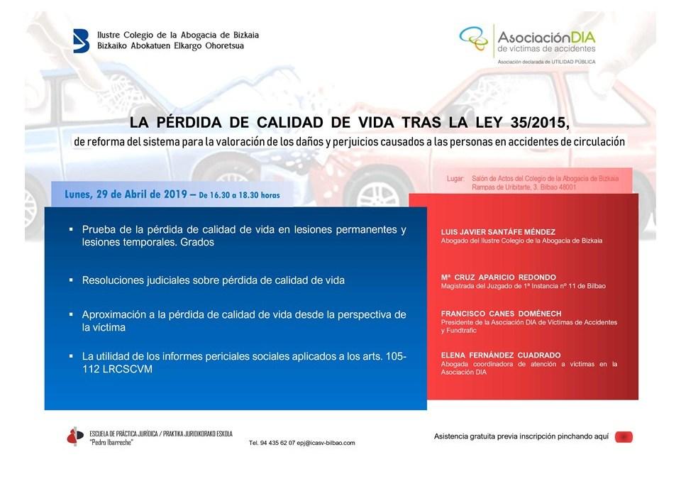 Asociación DIA y la Escuela de Práctica Jurídica del ICASV organizan una formación sobre la pérdida de calidad de vida