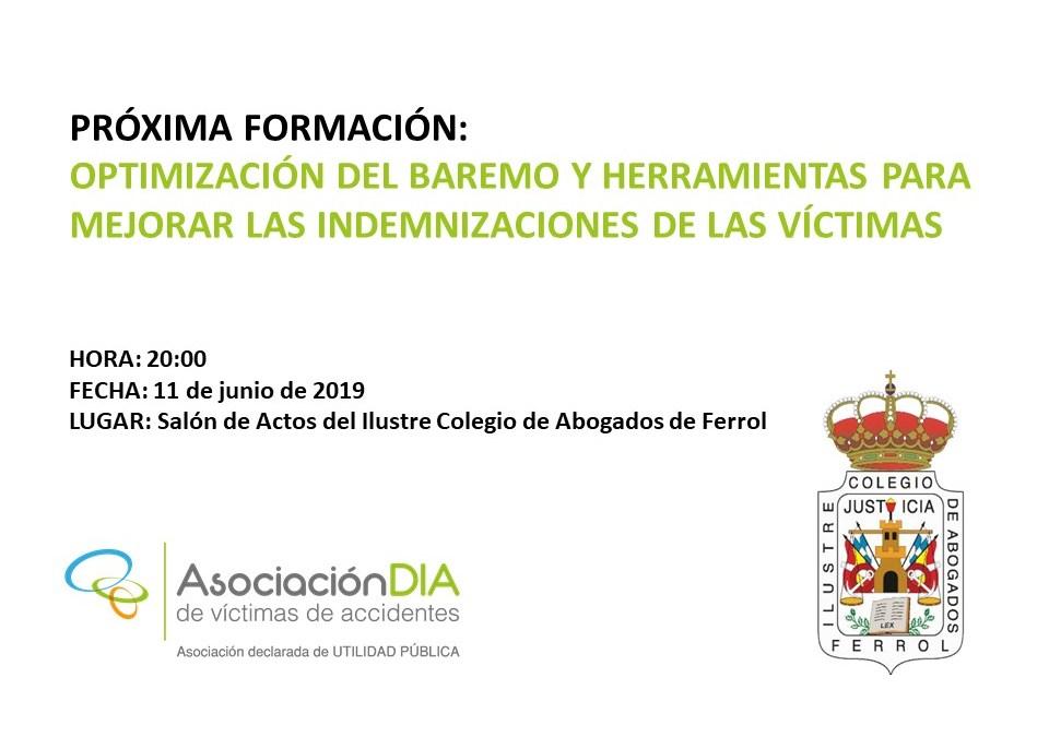 El 11 de junio DIA estará en el Colegio de Abogados de Ferrol con una formación sobre el Baremo