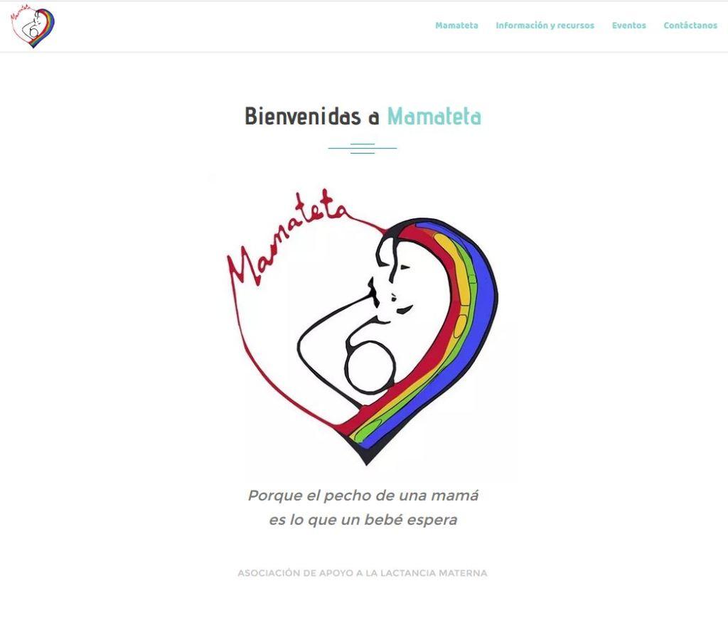 Cabecera de la web de asociacion de apoyo a la lactancia mamateta, fondo blanco, con el lema Bienvenidas a Mamateta, el logo en forma de corazón con arcoiris, mamateta y un símbolo que recuerda a una madre dando el pecho abrazada por su pareja