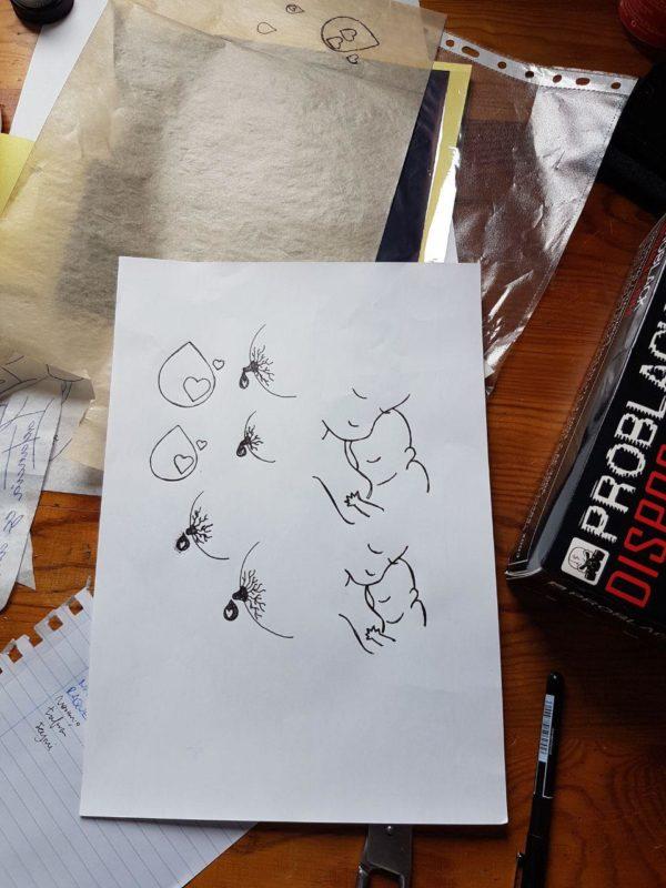 Diseño de tatuajes relacionados con la lactancia materna para  I Jornada de lactancia materna de Edulacta