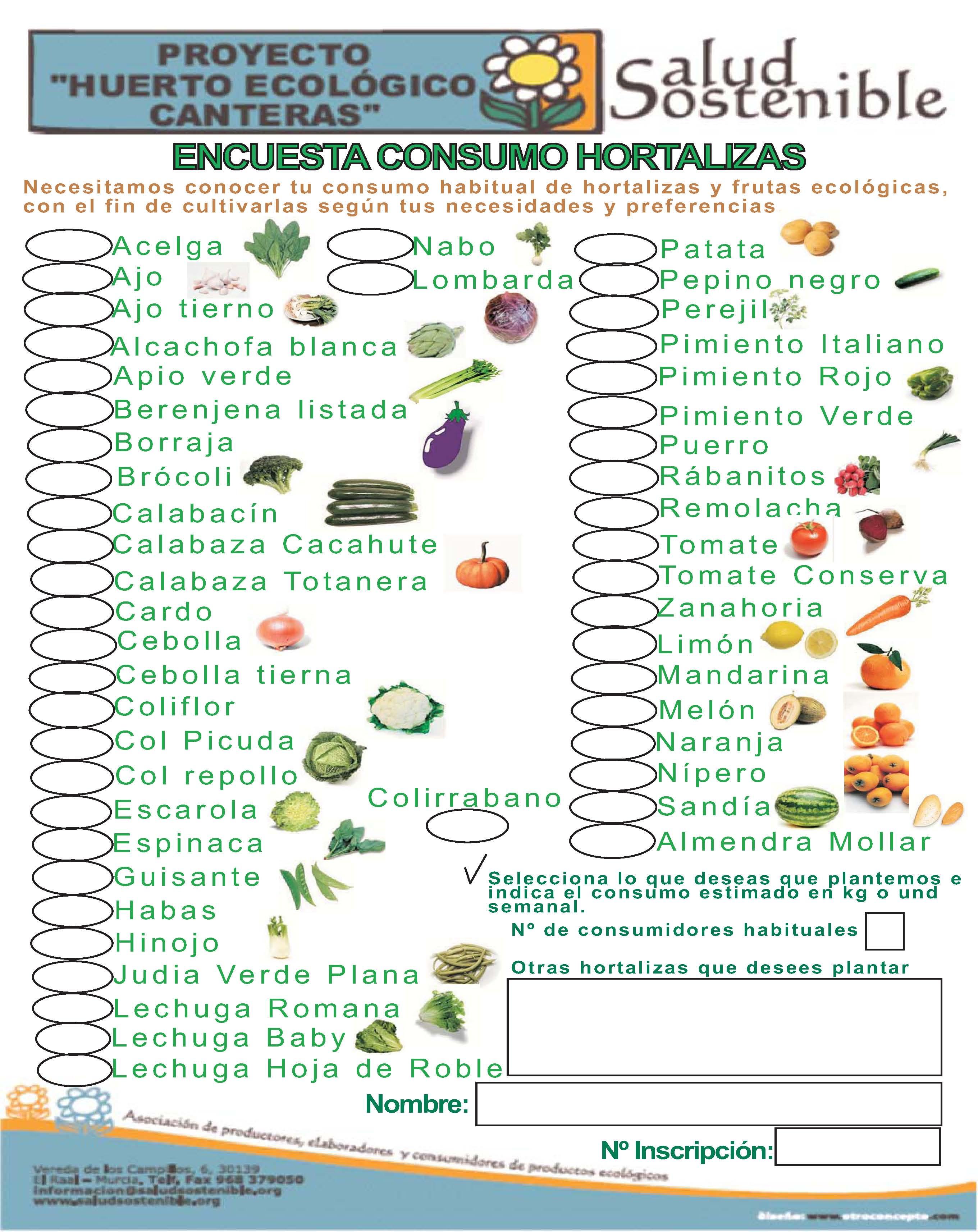 Encuesta consumo hortalizas asociaci n salud sostenible for Asociacion de hortalizas