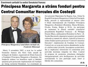 JurnaldeArges 2.02.2008 Principesa Margareta a strans fonduri pentru Centrul Comunitar Hercules din Costesti