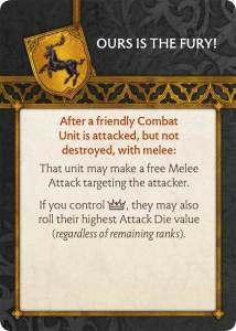 Baratheon Tactics Card Ours is the Fury