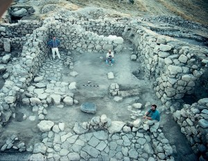 Reconstructed four room house from Tall al-'Umayri. Photo courtesy of Larry Herr and the Madaba Plains Project.