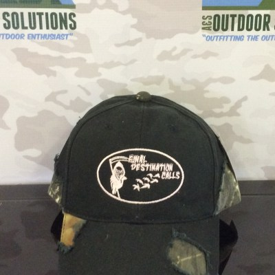 Black and Camo-patched Cap with White Logo from Final Destination Calls
