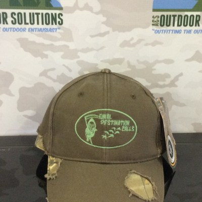 Brown and Camo-patched with Green logo Ball Cap from Final Destination Calls