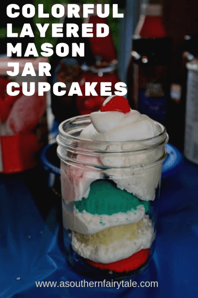 layered red white and blue mason jar cupcakes