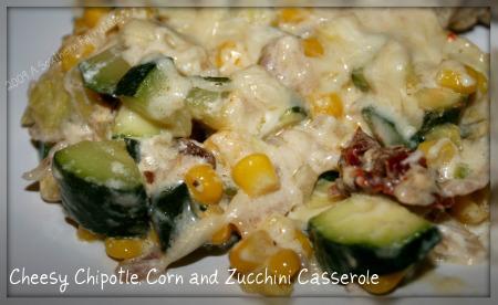 Cheesy Chipotle, Corn and Zucchini Casserole