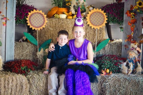 purple people eater in the pumpkin patch