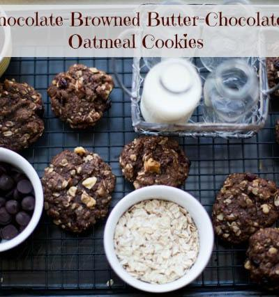 Dark chocolate chocolate chip oatmeal cookies with browned butter